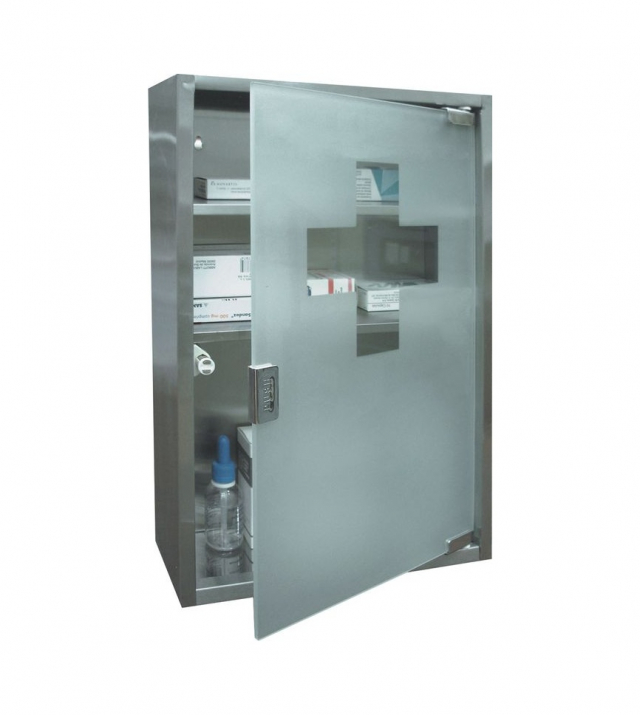 Lékárnička BTV 450 sklo/nerez