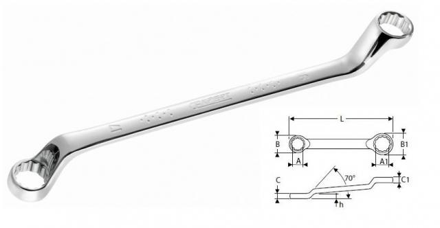 Očkový klíč vyhnutý DIN 838 - 6x7 Tona E113321