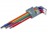 Extol Premium 8819315 L - klíče imbus prodloužené barevné, sada 9ks